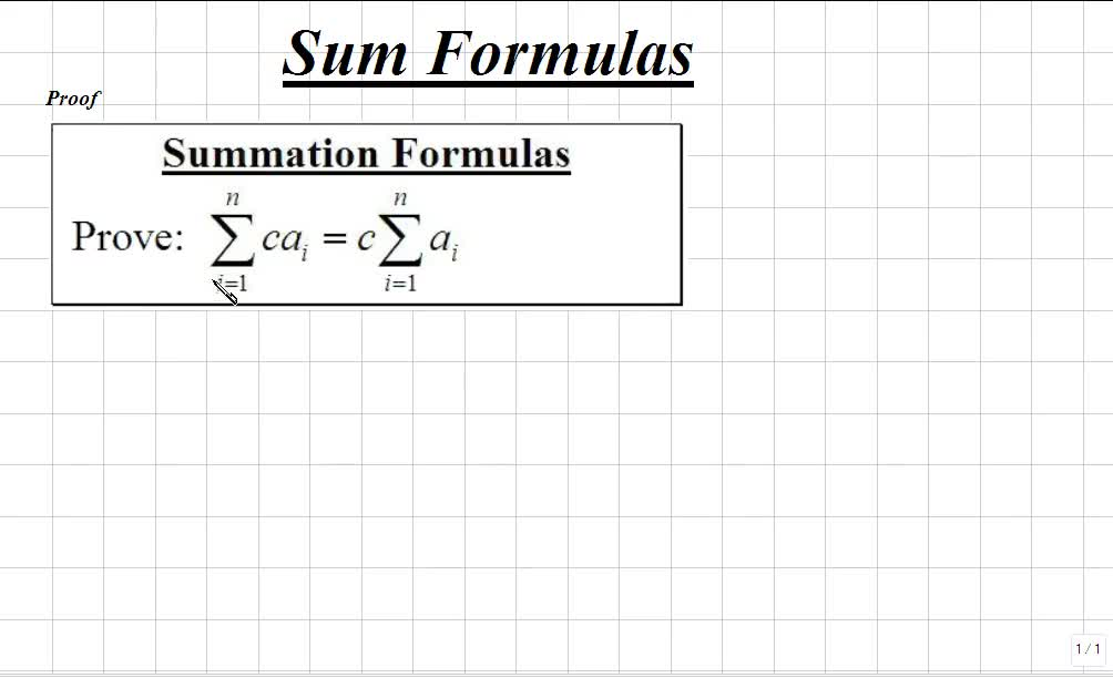Classroom Calculus I Finding Sums Using Sigma Notation Formulas