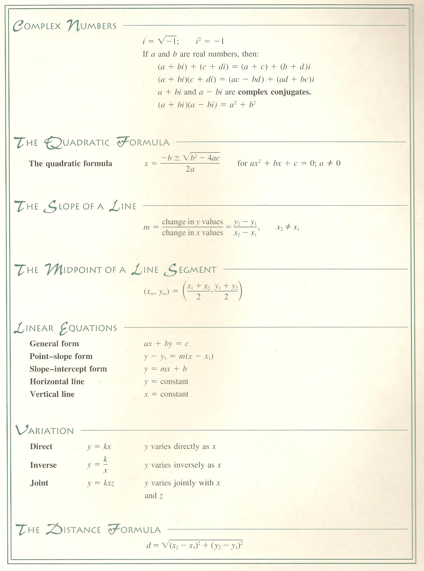math references video math teacher elementary algebra reference sheet