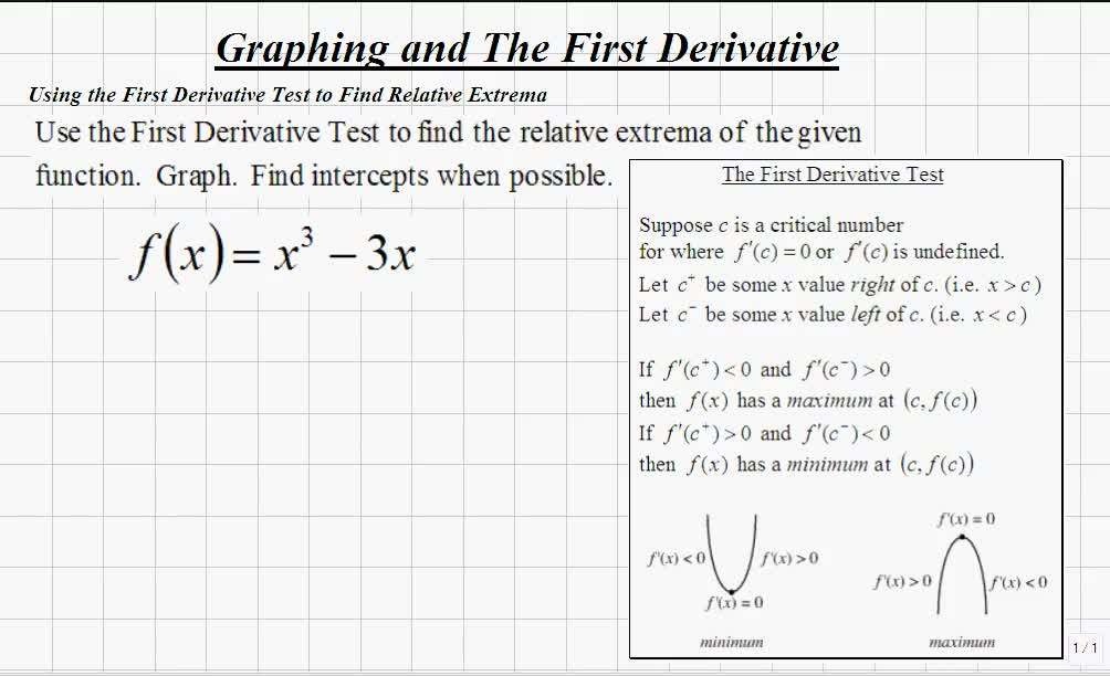 Calculus I Using The First Derivative Test To Find Relative Extrema: First Derivative Test Worksheet At Alzheimers-prions.com