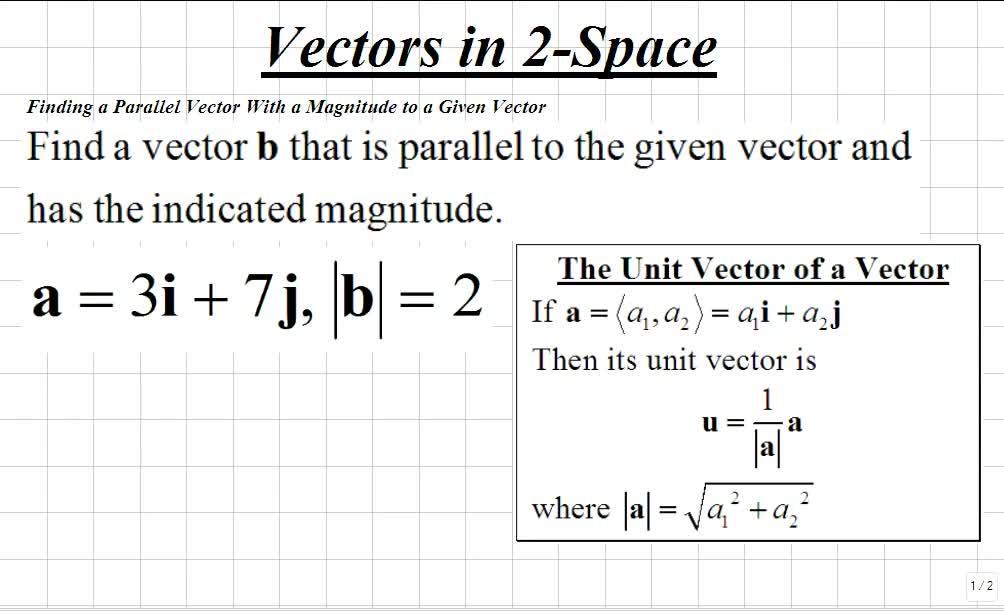 Parallel vectors calc 2