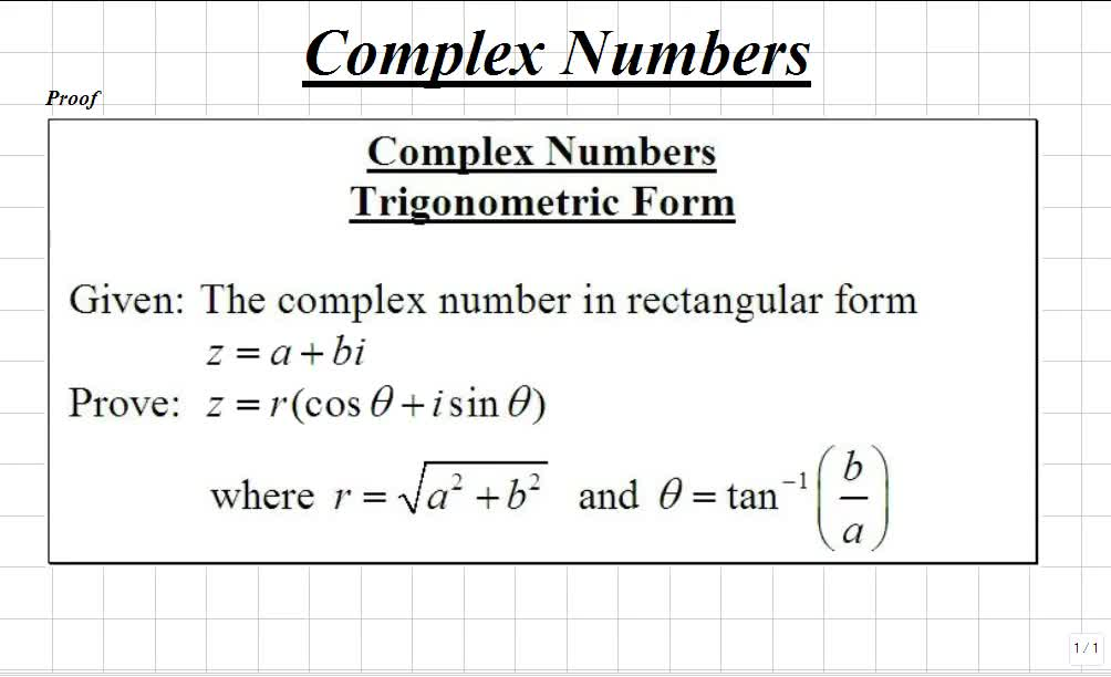 classroom trigonometry writing complex numbers in trigonometric form video math teacher. Black Bedroom Furniture Sets. Home Design Ideas