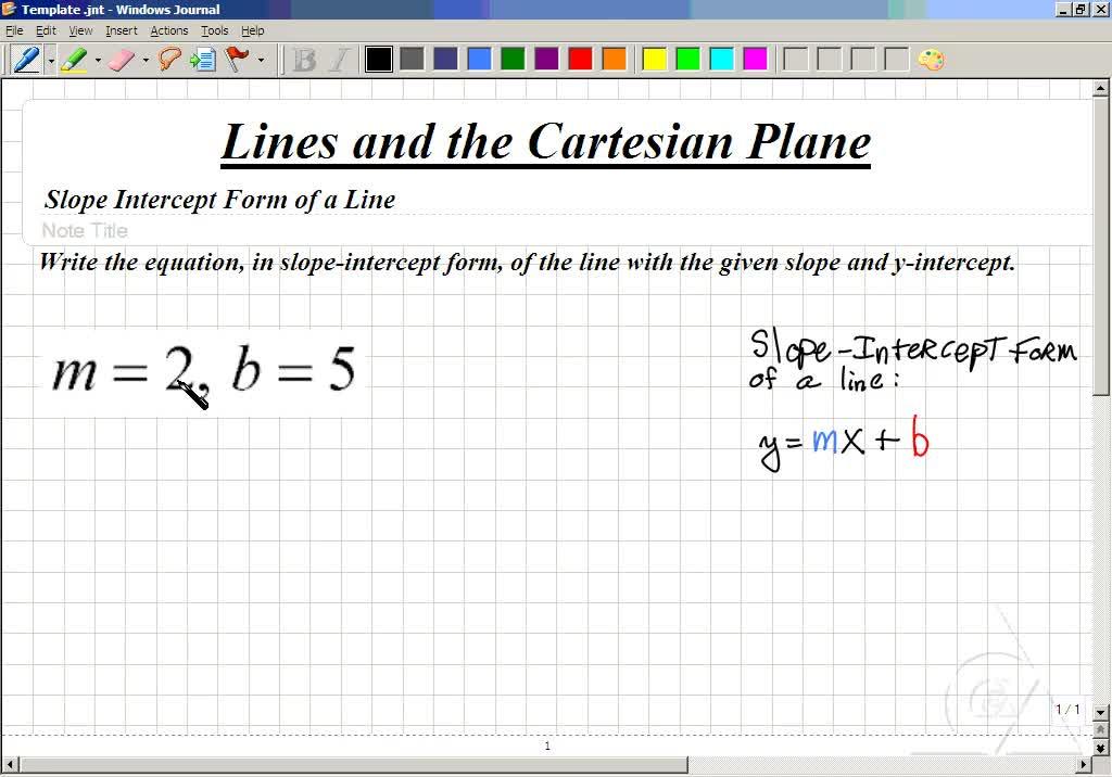Classroom Intermediate Algebra Writing Equations In Slope