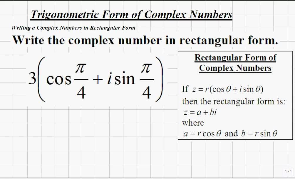 classroom trigonometry writing complex numbers in rectangular form video math teacher. Black Bedroom Furniture Sets. Home Design Ideas